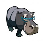Hippo with glasses  cartoon