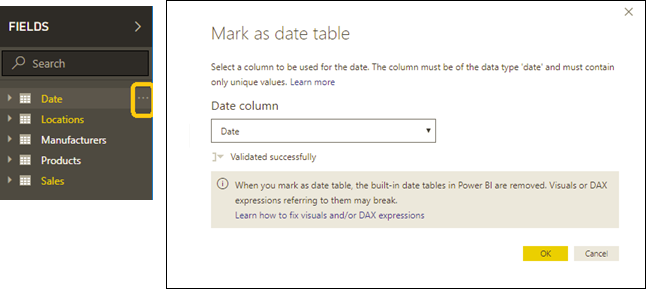 Creating Power BI Date Tables by Marking as Date Table |